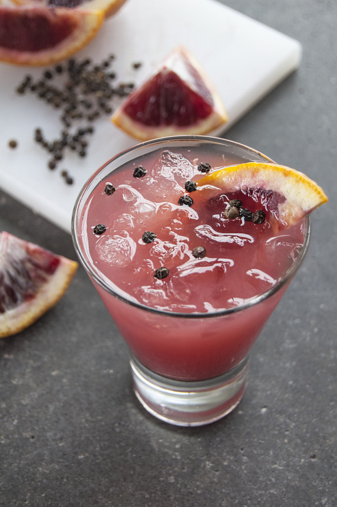 Full of Pep -- Muddled blood oranges and grapefruit, peppercorn syrup and olive oil. Credit: Blue Plate Catering