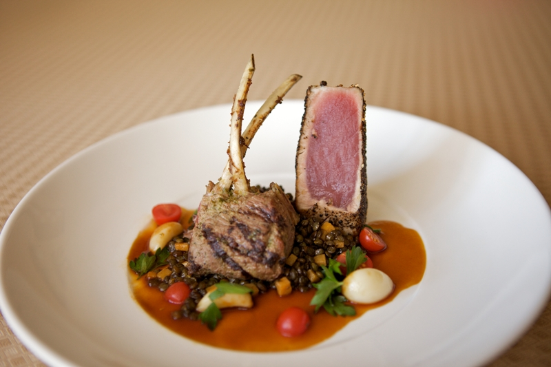 Pla - Double Cut Lamb Chop and Pepper Crusted Ahi Tuna