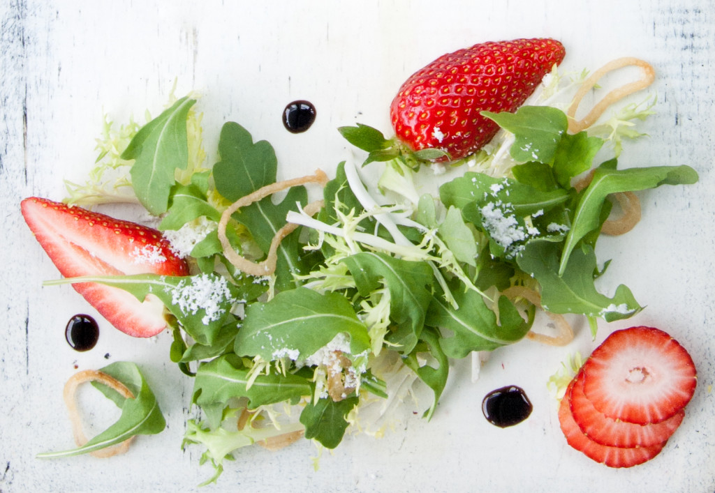 Strawberry and Baby Arugula Salad, Photo: Blue Plate Catering